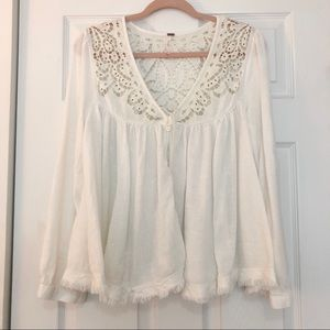 Free People boho cream/white long sleeve blouse.